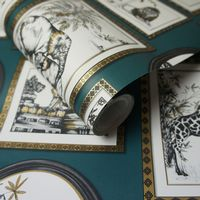 Holden Decor Safari Frames Teal 90070 Wallpaper
